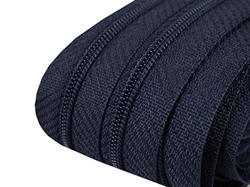 2 m endlos Reißverschluss dunkelblau 3mm Laufschiene + 5 Zipper