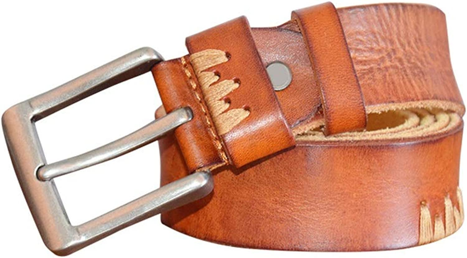 Canvas Belt Women's Belt Vintage Washed Pure Cowhide Handmade Stitch Pin Leather (Size   110cm)