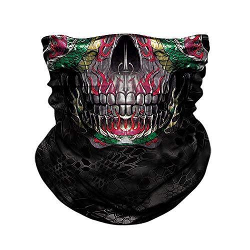 PAWANG 3D Skull Buffs Headband Motorcycle Face Shield Camouflage Neck Gaiter Kryptek Seamless Bandana Motorbike Ciclismo Hiking Scarves