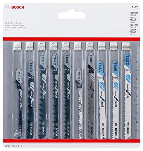 Bosch Professional 10-delig Decoupeerzaagbladen set (voor hout en metaal, accessoires voor decoupeerzagen met T-schachtopname)