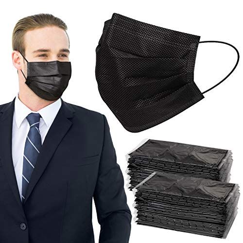 Covid 19 Face Mask for Adults - Black Disposable Masks(7.1' x 3.8') Individually Wrapped 50 Pack, 3 Ply Paper Breathable Mask with Elastic Ear Loops
