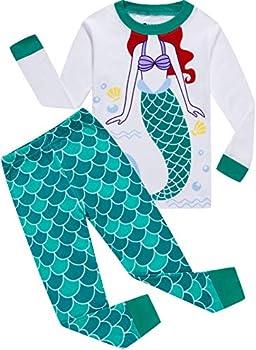 Girls Christmas Pajamas for Kids Cartoon Sleepwear Children Mermaid PJs Pants Set