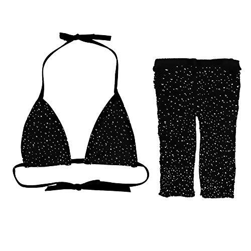 AMY-XCQ Bikini, Soutien-Gorge Diamant Et Short Maillot De Bain Transparent Costume 2 Pièces Plage Taille Unique Style Discothèque,Noir