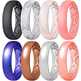ThunderFit Silicone Wedding Bands Promise Rings for Women, Breathable Air Grooves 5.5mm Width - 1.5mm Thick (Women Bronze, Rose Gold, Galaxy, Silver, Light Pink, Marble, Black, Faint Red - Size 5.5 - 6 (16.5mm))