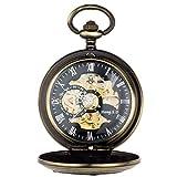 Montre de poche CFSAFAA - Montre de poche - Locomotive Robot Flip Rétro - Collier creux - Table de montre - Bronze antique -...