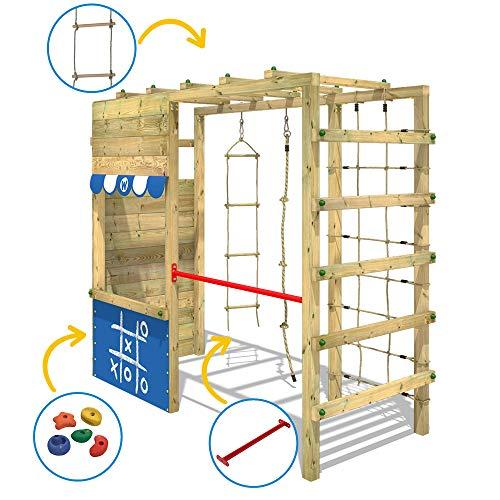 WICKEY Spielturm Klettergerüst Smart Action mit blauer Plane, Gartenspielgerät mit Kletterwand & Spiel-Zubehör - 3