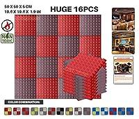 エースパンチ 新しい 16ピースセット赤とブルゴーニュ 500 x 500 x 50 mm ピラミッド 東京防音 ポリウレタン 吸音材 アコースティックフォーム AP1034