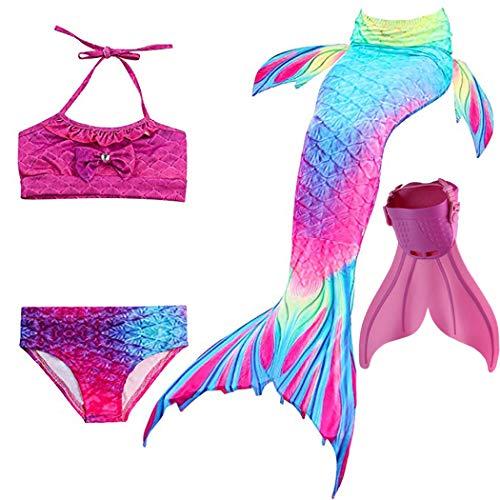 shepretty Meerjungfrauenschwanz zum Schwimmen für Kinder mit Meerjungfrau Flosse,DH02,120