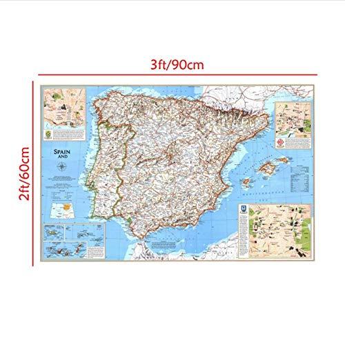 Zhaoyangeng Retro Europa Mapa Lienzo Pintura Foto Fondo Tela España Y Portugal País Viajes Mapa Pared Arte Imagen Cartel-60X90 Cm Sin Marco