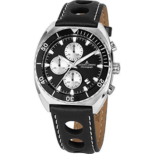 Jacques Lemans Men's Black Case Quartz Analog Watch 1-2041A