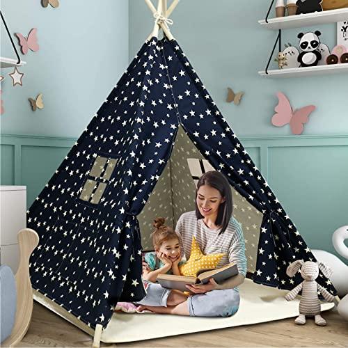 Tienda de campaña para niños con alfombra para niños y niñas, casa de juegos para interiores y exteriores, diseño de rayas blancas, decoración de sala de juegos TiPi Tepee (verde)