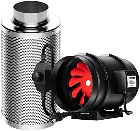 VIVOSUN 6 Inch 390 CFM Inline Duct Fan with 6 Inch Carbon Filter Odor Control with Australia Virgin Charcoal