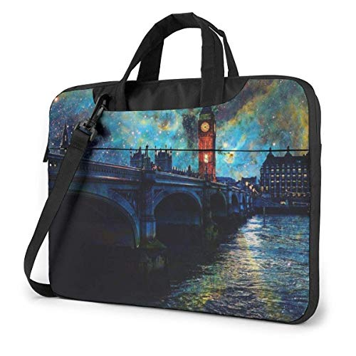 Laptoptas - London Tower Bridge Schilderij Illustratie Laptop Schouder Messenger Tas, Handheld Laptop Beschermende Tas 15.6 Inch