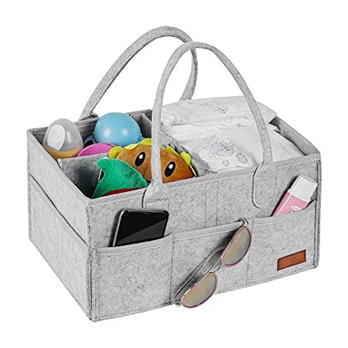 WHATWEARS Baby Windel Caddy Organizer, tragbare Kinderzimmer Vorratsbehälter Filzkorb mit Mehreren Taschen und austauschbaren Fächern, Baby Wipes Bag Windel Aufbewahrungsbeutel für Kinder (hellgrau)