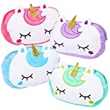 ArtCreativity Plush Unicorn Pencil Pouches, Set of 4, Cute Unicorn Birthday Party Favors for Girls, Zipper Pen Holder with Sparkling Gold Horn, Fun Back to School Supplies for Kids, 4 Colors
