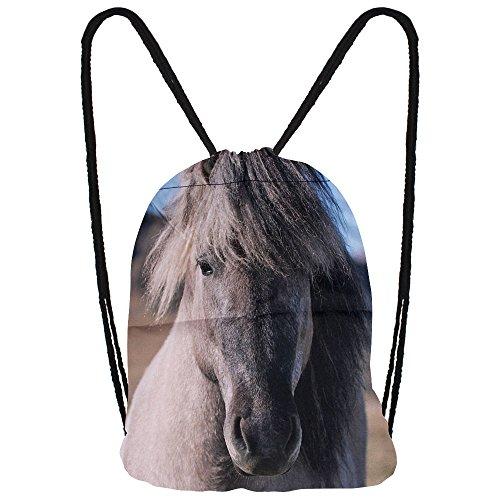 Hanessa Jutebeutel mit Pferde Tier Aufdruck Sportbeutel Tüte Rucksack Beutel Tasche Gym Bag Gymsack Hipster Fashion Sport-Tasche Einkaufs-Tasche Weißes Pferd