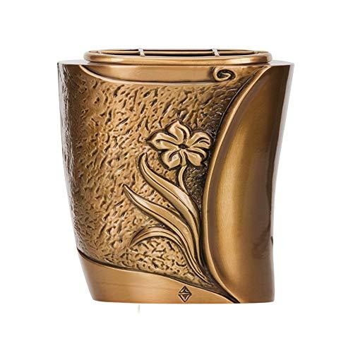 REAL VOTIVA FONDERIE D'ARTE Pot à Fleurs en Bronze pour Pierres tombales - Ligne SEBA (18 cm, au Sol, récipient Interne en Plastique) [T.03.3270/18/PL]