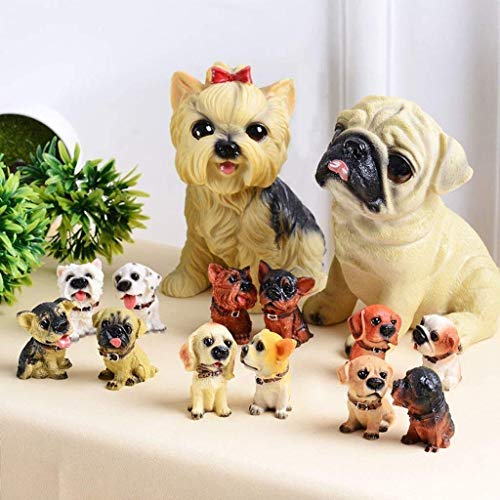 Yxsd Ornaments Simulation Dog Resin Sculpture Desk Decoration Dog Animal House Creative TV Cabinet Gifts Crafts (Color : C)