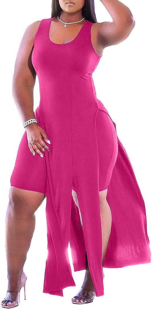 Women Sexy Two Piece Outfits Sets High Split Long Tank Tops Bodycon Shorts Sweatsuits Loungewear
