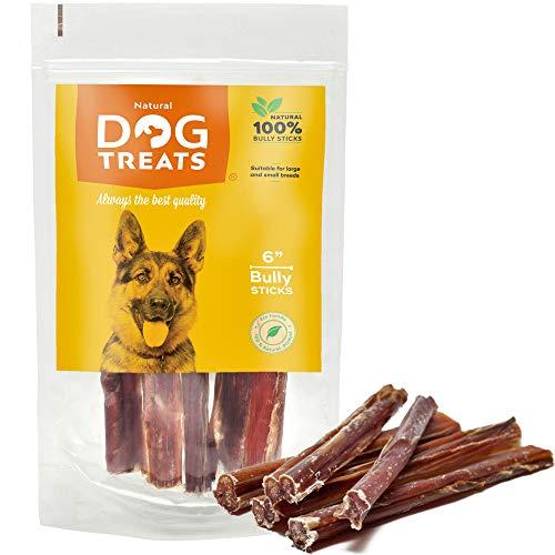 Palos para Perros 6 Pulgadas 100% Naturales Carne de Res de Cuero Crudo de Toro Bocadillo, 5 Piezas ⭐