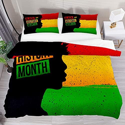 ATZTD Juego de ropa de cama transpirable con 3 piezas, funda de edredón (1 funda de edredón + 2 fundas de almohada), microfibra ultra suave
