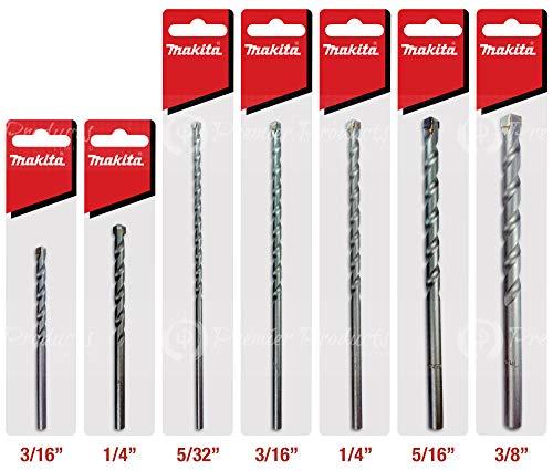 Makita 7 Piece - Complete Concrete Drill Bit Set For Hammer Drills - Precise Drilling For Light Masonry & Concrete