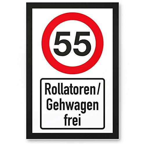 DankeDir! 55 Jahre Rollatoren/Gehwagen frei, Kunststoff Schild - Geschenk 55. Geburtstag, Geschenkidee Geburtstagsgeschenk Fünfundfünfzigsten, Geburtstagsdeko/Partydeko/Party Zubehör/Geburtstagskarte