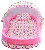 Nagar International Baby's Luxury Cotton Bassinet and Cradle Bedding Set with Mosquito Net (Pink; Large Size; 0-24 Months)