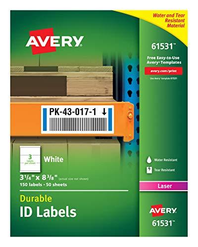 Avery Etiquetas de identificação brancas duráveis para impressoras a laser, 8,2 cm x 21,3 cm, pacote com 150 (61531)