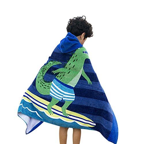 Toalla de playa con capucha para niños – Toalla de algodón suave con capucha para niños y niñas, baño, piscina, playa, piscina, piscina, 30 pulgadas x 50 pulgadas (azul)
