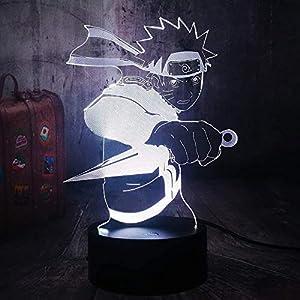 3D Illusion Kids Gift Naruto LED Night Light Japanese Anime Uzumaki Naruto Remote Control Sleep Table Lamp Kids Xmas Gifts Bedroom Home Decoration Kid Toys Boy Gifts