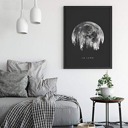 ganlanshu Minimalistisches Vollmondplakatwandkunst-Schwarzweiss-Bild des Sonnensystems, das das Wohnzimmer verziert,Rahmenlose Malerei-40X50cm