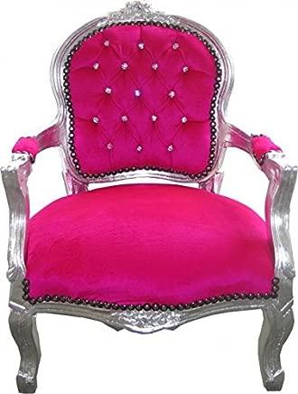 Casa-Padrino Baroque Highchair Pink Silver Bling Bling Rhinestones Children s Furniture
