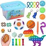 Pakoo Fidget Packs, 25PCS Fidget Toys with One Storage Box, Fidget Box for Children Adult Sensory Fidget Toy Set Stress Relief Toy, Pop Tubes, Infinity Cube, Puzzle Ball, Squishy Toy