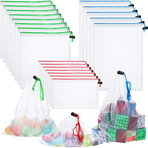 Toy Storage Organization Mesh Bags 20 Pieces Mesh Organizer Bags Washable Reusable Mesh Produce Bags 5 Large 8 Medium 7 Small for Playroom Organization Game Baby Toys Bathtub (Blue, Green, Red)