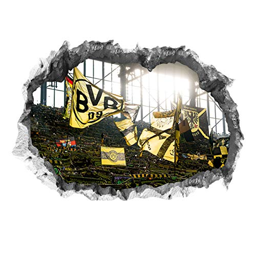 Borussia Dortmund, BVB-3D-Wandtattoo Stadionmotiv, Gelb, 0