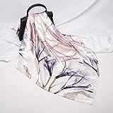 Pañuelo de seda artificial cuadrado para mujer de 90 cm, cinturón con estampado de herradura de estilo retro, seda suave, para mujer, primavera, verano fresco 21 90 cmx90 cm