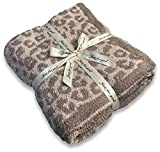 Jazzco Leopard Throw Blanket for Couch - 50x60, Lightweight, Soft, Plush, Fluffy, Warm, Cozy - Perfect for Bed, Sofa,Linen/Warm Gray