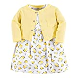Luvable Friends Baby Girls Dress and Cardigan Set, Yellow Floral, 18-24 Months (24M)