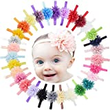 DeD 30PCS Girls Headbands Chiffon Flower Bows Soft Strecth Bands Hair Accessories for Newborns Infants Toddlers and Kids