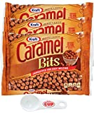 Kraft Caramel Bits 11 Ounce Bag (Pack of 3) with By The Cup Spoon