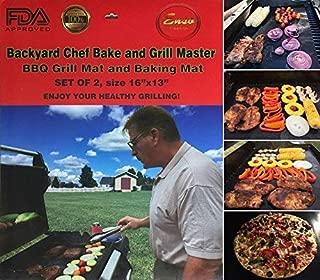 Backyard Chef Bake and Grill Master Grill Mat Baking Mat - BBQ Accessories Heavy Duty Premium Nonstick BBQ Grill Mats Set of 2-16