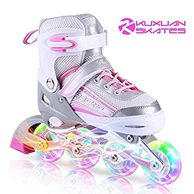 Kuxuan Saya Inline Skates Adjustable for Kids,Girls Rollerblades with All Wheels Light up,Fun Illuminating for Girls and Ladies - Small