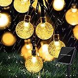 Lezonic Guirlande lumineuse solaire pour extérieur, 50 LED, 8 modes, boules de cristal, étanche, pour extérieur/intérieur, jardin, balcon, arbres, mariages, fêtes, Noël (blanc chaud)