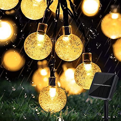 Lezonic Solar Lichterkette aussen, 50LED 23 ft 8 Modi Solar Kristallkugeln wasserdicht Außen/Innen Lichter Beleuchtung für Garten, Balkon, Bäume, Hochzeiten, Partys, Weihnachten (warmweiß)