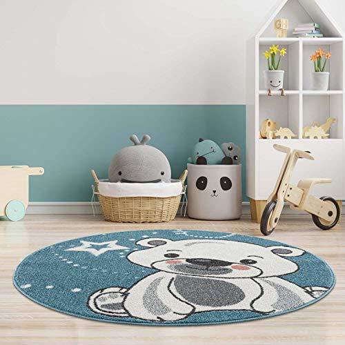 carpet city Kinderteppich - Teddy-Bär Stern 160 cm Rund Blau - Babyzimmer Teppich Modern