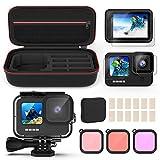 Kupton Kit de Accesorios para GoPro Hero 9, Incluye Carcasa Impermeable + Protector de Pantalla de Vidrio Templado + Funda para Transportar + Inserciones Anti-Neblina + Filtros Snorkel para GoPro 9
