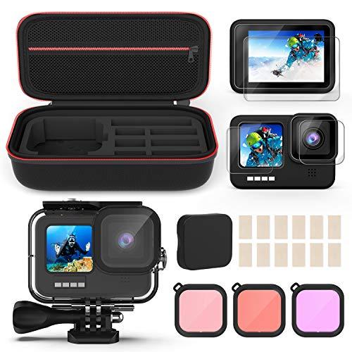 Kupton Zubehörset kompatibel mit GoPro Hero 9 Black Enthält eine wasserdichte Gehäuse+Displayschutzfolie aus Gehärtetem Glas+ Tragetasche+Antibeschlag Einsätze+Schnorchelfilter kompatibel mit GoPro 9
