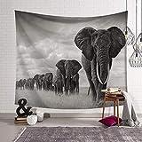 GTZXHNM Tapiz De Pared,Los Elefantes Animales Paisaje De Sabana Africana Al Estilo Indio,Tela Impresas De Tamaño Grande para Dormitorio Dormitorio Decoración De Pared De Fondo,150×130Cm.