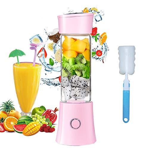 Mini Standmixer, USB Wiederaufladbare Tragbarer Entsafter 6 Edelstahlklingen Leistungsstarker Obst und Gemüse Mixer 480ml 4000mAh Smoothie Maker für Büro Küche Outdoor-Sportarten(Rosa)